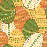 Easter seamless hand drawn pattern with hand made decoration eggs. Royalty Free Stock Photo