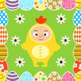 Easter seamless with kid in chicken costume. Vector illustration Royalty Free Stock Photo