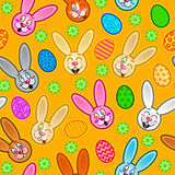 Easter Seamless Pattern. With rabbits and eggs in orange background Royalty Free Stock Photos