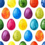 Easter seamless pattern background with colorful watercolor eggs.  Stock Images