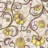 Easter seamless pattern with gold flowers. Easter seamless pattern with brown curls and gold flowers (vector EPS 10 royalty free illustration