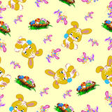 Easter seamless pattern with bunnies and eggs Stock Photos