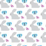 Easter Seamless Pattern With Bunny And Butterfly Ornament On White Background. Vector Illustration Royalty Free Stock Photography