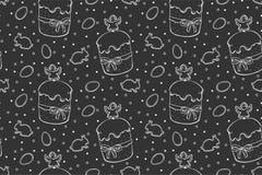 Easter seamless pattern cakes stock illustration