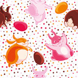 Easter seamless pattern with cartoon funny pink, yellow and chocolate rabbits and eggs on cofetti background. Stock Image