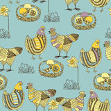Easter seamless pattern with chicken and cock Stock Photography