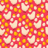 Easter seamless pattern with chicks, hens and Royalty Free Stock Photos