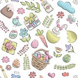 Easter seamless pattern. Colorful childish decor repeat background. Hand drawn doodle cartoon style spring holiday design concept. Vector illustration stock illustration