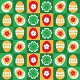 Eggs decorated and clover leaves seamless pattern - vector. Colorful Easter seamless pattern with decorated Easter eggs and clover leaves. Eps file available Royalty Free Stock Photo