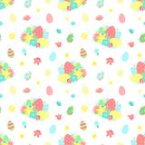 Easter seamless pattern with colorful eggs, flowers, bouquet on a transparent background. Vector hand-drawn illustration for sprin stock illustration