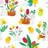 Easter seamless pattern with cute bunnies , painted eggs in a wicker basket , fluffy chickens, spring tulips and daffodils on a stock illustration