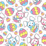 Easter seamless pattern with cute bunny and colorful egg on polkadot background for kid wallpaper and scrap paper. Easter seamless pattern with cute bunny and royalty free illustration
