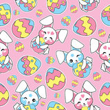 Easter seamless pattern with cute rabbits and colorful eggs on pink background for kid wallpaper, postcard and scrap paper. Easter seamless pattern with cute vector illustration