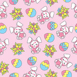 Easter seamless pattern with cute rabbits, flowers and colorful eggs on pink background for kid wallpaper. And scrap paper stock illustration