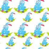 Easter Seamless Pattern With Cute Rabbits In Grass Witn Eggs On White Background. Vector Illustration Royalty Free Stock Photography
