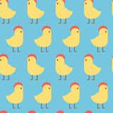 Easter Seamless Pattern With Cute Yellow Chicken On Blue Background. Vector Illustration Royalty Free Stock Image