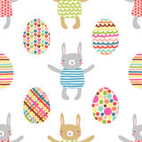 Easter seamless pattern design with bunnies Royalty Free Stock Photo