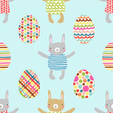 Easter seamless pattern design with bunnies Stock Image