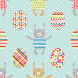Easter seamless pattern design with bunnies Royalty Free Stock Images
