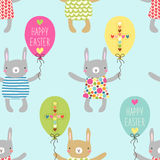 Easter seamless pattern design with bunnies Royalty Free Stock Photos