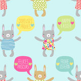 Easter seamless pattern design with bunnies stock photos