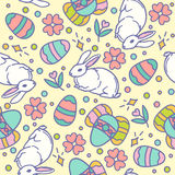 Easter seamless pattern design vector illustration. Line style bunnies and eggs Stock Images