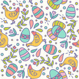 Easter seamless pattern design vector illustration. Line style chicken and eggs Stock Image