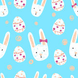 Easter seamless pattern with doodle bunnies and eggs. Holiday background royalty free illustration
