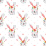 Easter seamless pattern. Cute funny bunny with dots and hearts.Easter holiday decorative background perfect for prints,flyers,banners,holiday invitations and Stock Photography