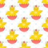 Easter seamless pattern. Cute little chicks.Easter holiday decorative background perfect for prints,flyers,banners,holiday invitations and more.Vector Easter Stock Photo