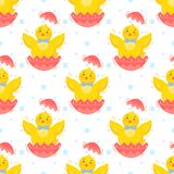Easter seamless pattern. Cute little chicks.Easter holiday decorative background perfect for prints,flyers,banners,holiday invitations and more.Vector Easter Stock Image