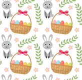 Easter seamless pattern with eggs basket and rabbit. Endless Spring background, texture, digital paper. Vector Royalty Free Stock Images