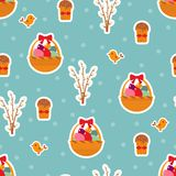 Easter seamless pattern with eggs and cakes. Stock Photos