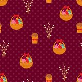 Easter seamless pattern with eggs and cakes. Stock Image
