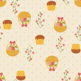 Easter seamless pattern with eggs and cakes. Stock Photography