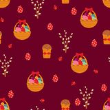 Easter seamless pattern with eggs and cakes. Royalty Free Stock Images
