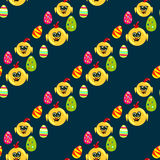 Easter seamless pattern with eggs and chicks Stock Photos