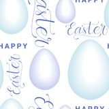 Easter Seamless Pattern With Eggs, And Creative Hand Drawn Calligraphy On White Background. Vector Illustration Royalty Free Stock Photos
