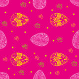 Easter seamless pattern with eggs and flowers on the pink Stock Photo
