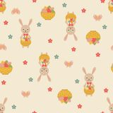 Easter seamless pattern with eggs and rabbits. Stock Image