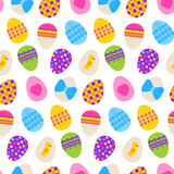 Easter seamless pattern with eggs. Vecror illustration of white texture with colorful eggs vector illustration