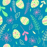 Easter seamless pattern with flowers. Egg hunt vector illustration.  Stock Photos