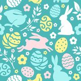 Easter Seamless Pattern With Eggs And Rabbits royalty free illustration