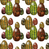 Easter seamless pattern with green, orange and red eggs Stock Image