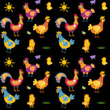 Easter seamless pattern with hen and nest. hen and chicken, rooster vector Stock Photo