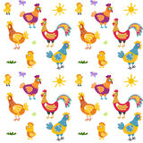 Easter seamless pattern with hen and nest. hen and chicken, rooster vector Stock Image