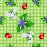 Easter seamless pattern. Over green basket background Stock Photo