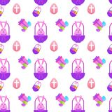 Easter Seamless Pattern With Painted Eggs And Rabbits On White Background. Vector Illustration Stock Photos
