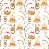 Easter seamless pattern with rabbit, egg basket, cake, willow. Endless Spring background, texture, digital paper Royalty Free Stock Photo