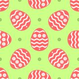 Easter seamless pattern. Repeated cute eggs and flowers. Colored endless vector illustration Stock Photography